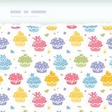 Kleurrijke horizontale gescheurde naadloze het patroonachtergrond van de cupcakepartij Stock Afbeelding