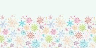 Kleurrijke Horizontale Naadloos van Krabbelsneeuwvlokken Stock Afbeelding