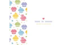 Kleurrijke horizontale naadloze het patroonachtergrond van de cupcakepartij Royalty-vrije Stock Afbeelding