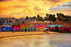 Kleurrijke Hotels, oriëntatiepunt van Capitola-Dorp stock fotografie
