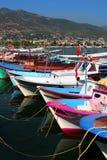 Kleurrijke Houten Boten van Alanya Stock Foto's
