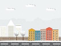 Kleurrijke Houten Eco-Huizen Het thema van de winter royalty-vrije illustratie