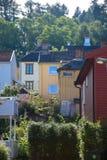 Kleurrijke houten huizen in Trondheim, in Noorwegen Stock Afbeelding
