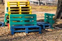 Kleurrijke houten pallets Royalty-vrije Stock Foto