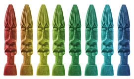 Kleurrijke houten standbeelden Stock Afbeeldingen