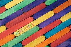 Kleurrijke houten stok met DIVERSITEITSwoord royalty-vrije stock foto's