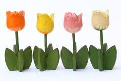 Kleurrijke Houten Tulp Stock Afbeelding