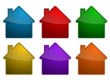 Kleurrijke huissymbolen Stock Afbeeldingen