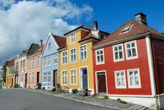Kleurrijke huizen in Bergen Noorwegen Royalty-vrije Stock Foto's