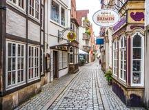 Kleurrijke huizen in beroemde Schnoorviertel in Bremen, Duitsland Stock Foto