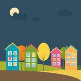 Kleurrijke Huizen bij Nacht, Autumn Theme vector illustratie