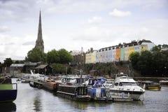 Kleurrijke huizen in Bristol-stad Stock Afbeeldingen