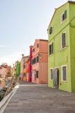 Kleurrijke huizen in Burano Stock Foto