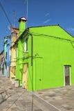 Kleurrijke huizen in Burano Stock Afbeelding