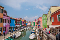 Kleurrijke huizen in Burano, Italië royalty-vrije stock foto