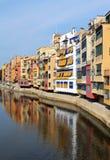 Kleurrijke huizen in Girona, Spanje Royalty-vrije Stock Afbeelding