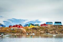 Kleurrijke huizen in Groenland royalty-vrije stock fotografie