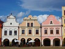 Kleurrijke huizen in het historische vierkant in Telc Royalty-vrije Stock Foto's