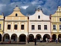 Kleurrijke huizen in het historische vierkant in Telc Royalty-vrije Stock Foto