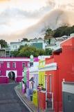 Kleurrijke huizen in historische buurt BO-Kaap in Cape Town Stock Fotografie