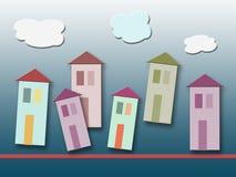 Kleurrijke huizen op gradiënt Stock Afbeeldingen