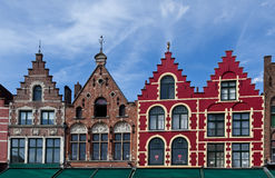 Kleurrijke huizen op het marktvierkant in Brugge/Brugge, België Royalty-vrije Stock Foto