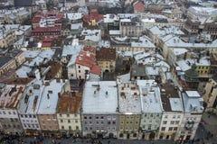 Kleurrijke huizen op het Marktvierkant in Lviv Stock Foto