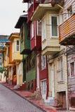 Kleurrijke huizen op stadsstraat - Istanboel Royalty-vrije Stock Afbeelding