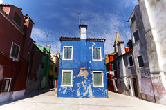 Kleurrijke huizen van Burano Stock Fotografie