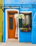 Kleurrijke huizen van Burano, Venetië, Italië Stock Foto's