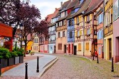 Kleurrijke huizen van Colmar, de Elzas, Frankrijk royalty-vrije stock afbeeldingen