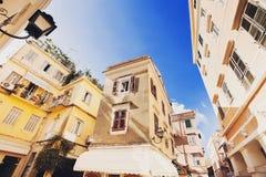 Kleurrijke huizen van de stad van Korfu, Ionische eilanden, Griekenland Stock Foto