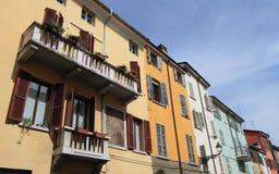 Kleurrijke huizen van Parma Stock Fotografie