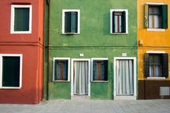 Kleurrijke Huizen Venetië (Veneto) Royalty-vrije Stock Foto
