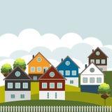 Kleurrijke Huizen voor Verkoop/Huur Concept 6 van onroerende goederen Royalty-vrije Stock Foto's