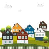 Kleurrijke Huizen voor Verkoop/Huur Concept 6 van onroerende goederen Stock Fotografie