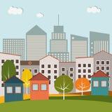 Kleurrijke Huizen voor Verkoop/Huur De huizen van onroerende goederen?, Vlakten voor verkoop of voor huur Stock Foto