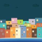 Kleurrijke Huizen voor Verkoop/Huur De huizen van onroerende goederen?, Vlakten voor verkoop of voor huur Stock Fotografie