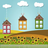 Kleurrijke Huizen voor Verkoop/Huur De huizen van onroerende goederen?, Vlakten voor verkoop of voor huur stock illustratie