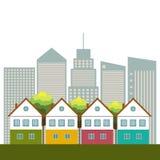 Kleurrijke Huizen voor Verkoop/Huur De huizen van onroerende goederen?, Vlakten voor verkoop of voor huur Stock Afbeeldingen