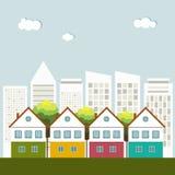 Kleurrijke Huizen voor Verkoop/Huur De huizen van onroerende goederen?, Vlakten voor verkoop of voor huur royalty-vrije illustratie