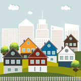 Kleurrijke Huizen voor Verkoophuur Concept 6 van onroerende goederen Royalty-vrije Stock Afbeeldingen
