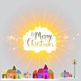 Kleurrijke huizen voor Vrolijke Kerstmisviering Royalty-vrije Stock Foto