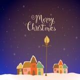 Kleurrijke huizen voor Vrolijke Kerstmisviering Stock Afbeelding