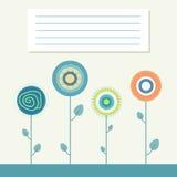 Kleurrijke Illustratie met Abstracte Bloemen Stock Afbeelding