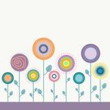 Kleurrijke Illustratie met Abstracte Bloemen Royalty-vrije Stock Afbeelding