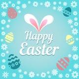 Kleurrijke illustratie met de titel Gelukkige Pasen en bloemen Royalty-vrije Stock Foto