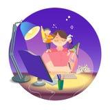 Kleurrijke illustratie met het beeld van een slaperige freelance kunstenaar Stock Foto's