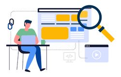 Kleurrijke illustratie over het op zoek zijn naar informatie in de Internet-ruimte royalty-vrije illustratie