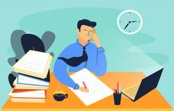 Kleurrijke illustratie van een mens, die in het bureau werkt royalty-vrije illustratie